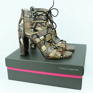 Vince Camuto Phandras Lace Up Heeled Sandals Sz 7 Leather Snakeskin Print NEW
