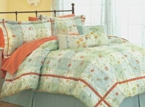 King Size Comforter 7 Piece Set Aqua and Sage Plaid Embroidered Better Homes