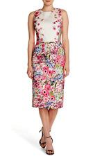 Maggy London Floral Print Stretch Cotton Midi Dress Pink Ivory Sz. 10- L