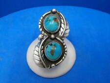 Vintage Signed Navajo Double Turquoise Stone Shadowbox Sterling Silver Ring Sz 6