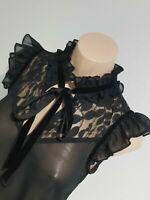 EUC size 8 REVIEW sheer black blouse lace ruffle neckline velvet ribbon tie