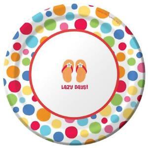 "Lazy Days Flip Flop Polka Dot Luau Beach Pool Birthday Party 7"" Dessert Plates"
