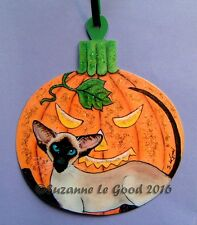ORIGINAL DESIGN SIAMESE CAT HALLOWEEN  PAINTING LAMINATED SIGN SUZANNE LE GOOD