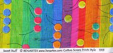 Makower,fabric,for quiltingfat quarter,craft,cherries in multicolour stripes