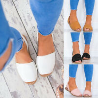Womens Plain Sandals Summer Beach Holiday Slingbacks Flats Open Peep Toe Sliders