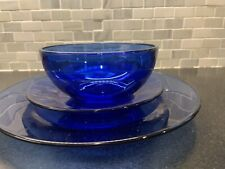Vintage Cobalt Blue Glass - Dinnerware Set - 3 Piece Place Setting