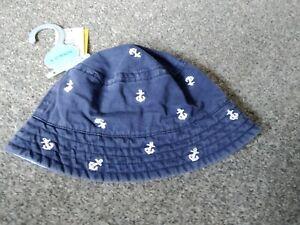 BNWT Matalan blue denim anchor detail sun bucket fisherman's hat UPF 40+ 6-12m