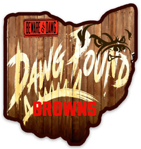 """Cleveland Browns """"Dawg Pound Fence"""" in Outline State of OHIO Die-cut MAGNET"""