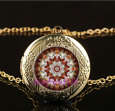 Mandala Photo Cabochon Glass Gold Plating Chain Locket Pendant Necklace