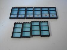 Lego Lot of 10 Windows Black Base Blue Glass Triple Pane Police Decals 6166
