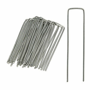 Securing Pegs Set of 25, Lawn Fixing Staples; U-Shaped, 3 mm Metal Stakes