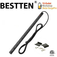 BESTTEN 12 Outlet Heavy Duty Surge Protector Metal Power Strip w/ 15FT Cord ETL