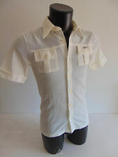 Vintage 70 LACOSTE 2 S Polo T-Shirt Top VTG Bianco White Bottoni