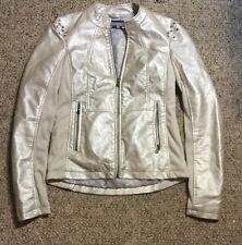 Women's Daytrip Faux Leather IVORY RHINESTONE BLING Bomber Moto Jacket BUCKLE S