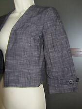 Calvin Klein Bolero Shrug Crop Jacket Cotton Gray Black Sz 0 XS Pockets Plaid
