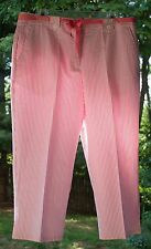 Women's Liz Claiborne Audra Cotton Trouser Pants Pink/White Stripe Petite 16P