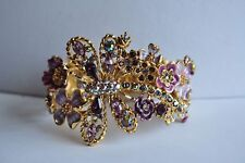 Purple Bracelet In Gold Tone Kirks Folly Dragonfly And Flower