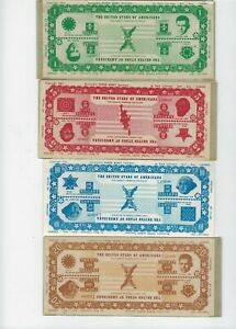 1961, 4 Reversible Banknote Specimens, 1,5,10,20 United States of Americana