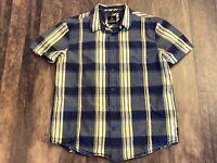 Prana Mens Button Up Short Sleeve Shirt Yellow Gray Plaid Men's Size Medium EUC