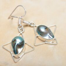 "Rainbow Natural Biwa Pearl 925 Sterling Silver Earrings 1.75"" #E00120"