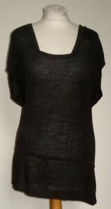 HOBBS chocolate brown sleeveless with linen knit top 10