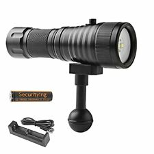 New listing SecurityIng 1500LM Scuba Diving Flashlight with White Red Light, With Battery