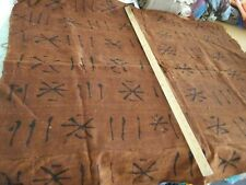 Authentic-Mali-African-Et hnic Mud Cloth-Rust/Black-Hand Painted Panels 1990' s#3