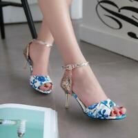 Womens Sequins Ankle Strap Tassel Printed Peep Toe Stiletto Heels Pump Sandals