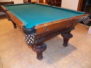 ANTIQUE Victor Oak POOL TABLE CIRCA 1900  VINTAGE Victorian ORIGINAL Billiards