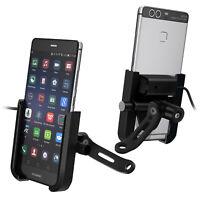 Support Téléphone Moto Chargeur USB Fixation Rétroviseur Système Mécanique Noir