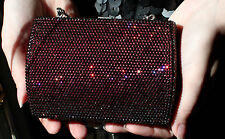 JUDITH LEIBER SWAROVSKI CRYSTAL FULL BEAD SMALL GARNET GEM RED MINAUDIERE CLUTCH