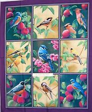 Wild Wings Fabric Panel - Fruit of the Vine Bird Purple Springs OOP 34""