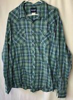 Wrangler Men's Casual Button Front Shirt XXL Plaid Green Blue Pearl Snaps