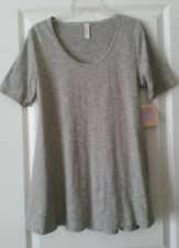 NWT LuLaRoe Perfect T Gray & Ivory Micro-Stripes Split Sides Size S
