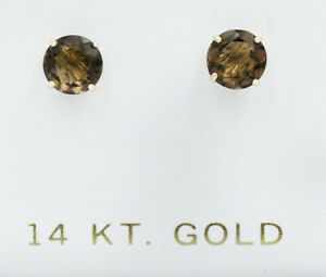 GENUINE 1.62 Cts SMOKY TOPAZ STUD EARRINGS 14K GOLD * Free Certificate Appraisal