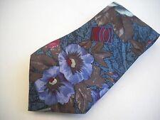 Pierre Balmain Couture Greens, Blues, Burgandy, Brown Floral Silk Neck Tie