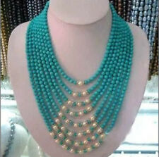 """Beautiful noblest 8 row 6mm turquoise and white pearl necklace  17-24"""""""