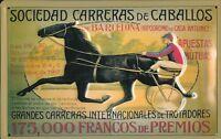 Trabrennen Barcelona Blechschild Schild 3D geprägt gewölbt Tin Sign 20 x 30 cm
