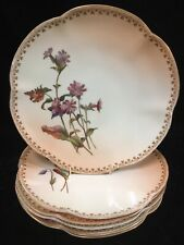 "(6) Antique c1900 Royal Worcester Blush Ivory Floral 8.75"" Plates W3972"