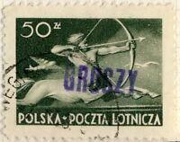 POLOGNE / POLAND 1950 GROSZY O/P T. 3 (KRAKOW Kt.1b violet) Mi.588 USED WEGIERKA