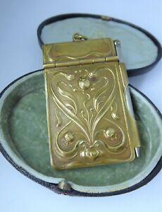 Antique Art Nouveau Chatelaine Brass Aide Memoire / Dance Card Pomegranate c1910