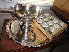 ANTIQUE MELDON JAPAN SILVER PLATED PEDESTAL PUNCH BOWL LARGE TRAY LADLE 12 CUP