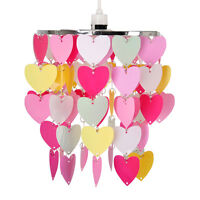 Girls Bedroom  Nursery Pink White Hearts Ceiling Light Shade Pendant Lampshade