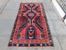 Vintage Hand Made Traditional Rug Oriental Wool Pink Red Blue Rug 202x110cm