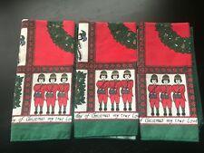 Vintage 12 Days of Christmas Napkins - Lot of 3