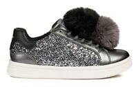 GEOX DJROCK J824MD scarpe bambina ragazza donna sneakers pelle glitter zeppa