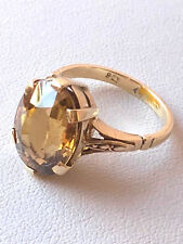 Gold Oval Cut Citrine Ring Vintage English Solid 9K Yellow