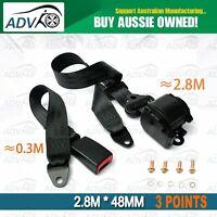 3 Point *2.8m *48mm BlackUniversal Adjustable Retractable Seat Belt 1 Set