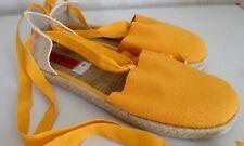 Damen Sommer Schuhe Ballerinas Schling-Schuhe Textil Gelb Übergröße Gr.43 NEU