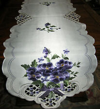 "Pretty Purple Flower Bouquet Embroidered Table Runner Dresser Scarf Decor 67""x13"